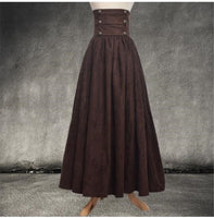 Vintage Steampunk Victorian High Waist Long Walking Skirt Brown / M - Go Steampunk