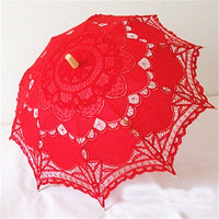 Handmade Embroidery Lace Parasol red - Go Steampunk