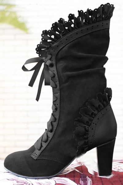 Steampunk Victorian Lace Up Suede Boots Black / 34 - Go Steampunk