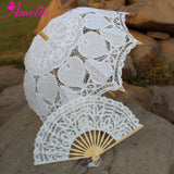 Western Style Beautiful Double-Layer Lace Parasol A0129 white - Go Steampunk