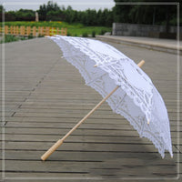 Handmade Embroidery Lace Parasol white - Go Steampunk