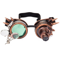 Rivets and Spikes Unisex Steampunk Goggles Red Copper - Go Steampunk