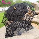 Western Style Beautiful Double-Layer Lace Parasol A0104 black - Go Steampunk