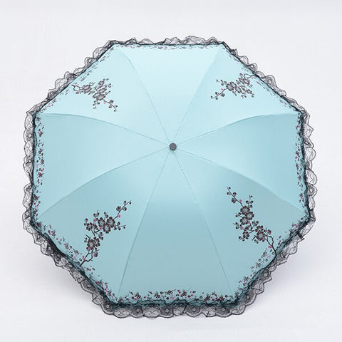 Plum Flower Blossom Parasol acid blue - Go Steampunk