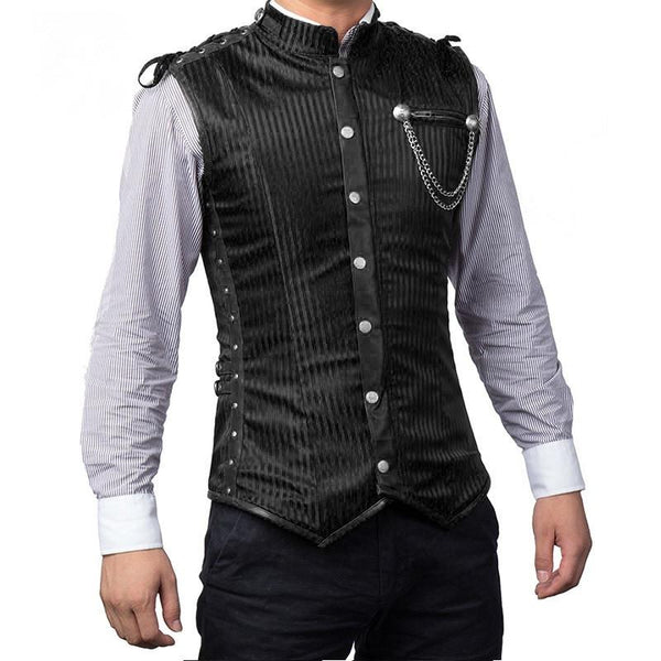 Pin-Striped Men's Steampunk Vest Corset