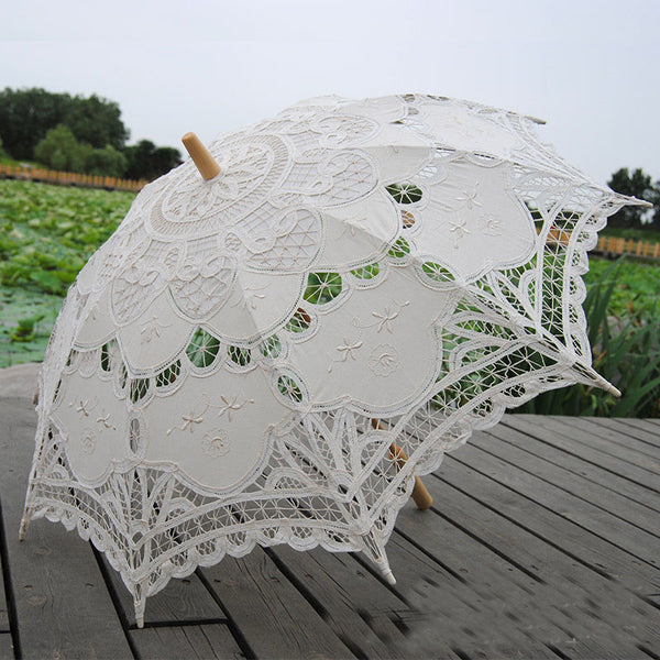 Handmade Embroidery Lace Parasol beige - Go Steampunk