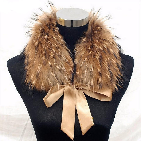 Real Raccoon Fur Collar with Ribbon with khaki ribbon - Go Steampunk