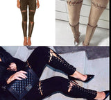 Faux Suede Cross Lace Up High Waist Leggings 7 Colors