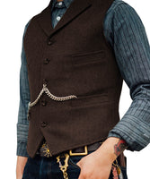 Tweed Slim Fit Gentleman's Waistcoat coffee / 4XL - Go Steampunk