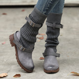 Warm Buckle Strap Boots - Go Steampunk