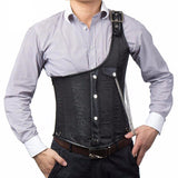 Black Brocade Buckled One-Shoulder Colete Steel Boned Men's Steampunk Corset Waistcoats - Go Steampunk