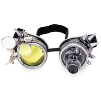 Rivets and Spikes Unisex Steampunk Goggles Silver - Go Steampunk