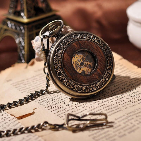 Wooden Skeleton Pocket Watch
