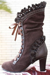 Steampunk Victorian Lace Up Suede Boots Brown / 34 - Go Steampunk
