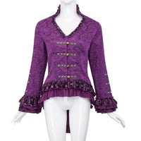 Ladies Vintage Victorian V-Neck Jacquard Coat - Go Steampunk