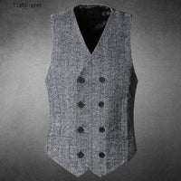 Mens Brown Double Breasted Vest light grey / S - Go Steampunk