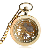 Luxury Golden Mechanical Hand-wind Skeleton Pocket Watch