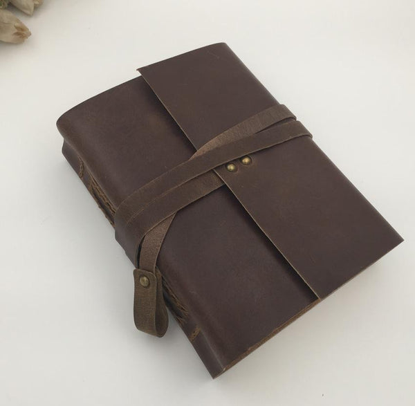 Handmade Vintage Leather Diary Sketchbook Travel Journal Dark Brown / 14x18cm - Go Steampunk
