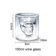 Load image into Gallery viewer, Double Wall Doomed Crystal Skull Shot Glass large - Go Steampunk