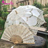 Western Style Beautiful Double-Layer Lace Parasol A0101 beige - Go Steampunk