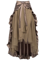 Steampunk Victorian Chartreuse Flounce Bustle Wrap (Can be worn as Cape also) Beaver / One Size - Go Steampunk