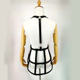 PU Leather Cage Skirt Harness with Suspenders