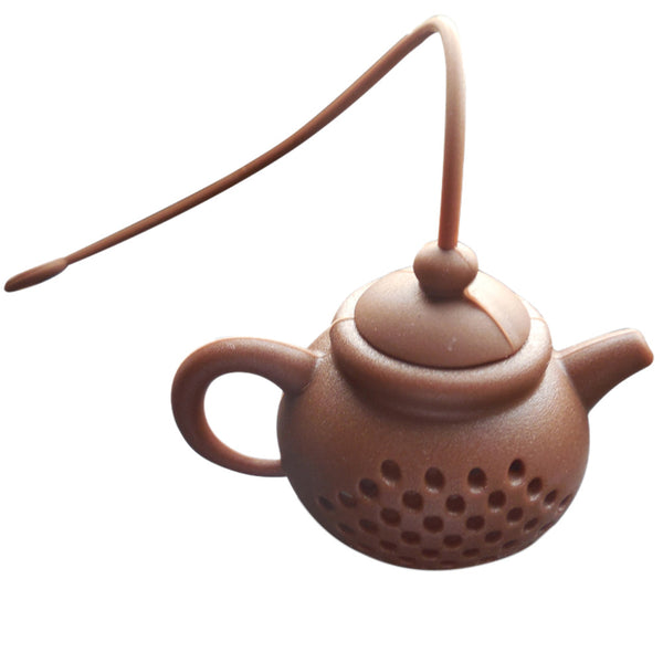 Teapot Shape Silicone Tea Strainer Brown - Go Steampunk