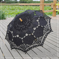 Handmade Embroidery Lace Parasol black - Go Steampunk