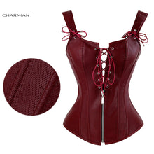 Load image into Gallery viewer, Faux Leather Low V Lace-up Front Steampunk Corset Wine Red Corset 2 / S - Go Steampunk