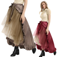 Steampunk Victorian Chartreuse Flounce Bustle Wrap (Can be worn as Cape also) - Go Steampunk