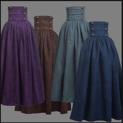 Vintage Steampunk Victorian High Waist Long Walking Skirt - Go Steampunk