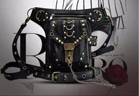 Black Leather Steampunk Thigh Holster Crossbody Bag - Go Steampunk