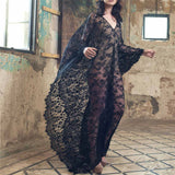 Lace Chiffon Long Dress Cover Up Black / L - Go Steampunk