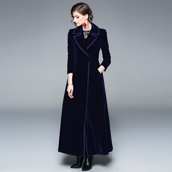 Vintage Notched Collar Wrap Velvet Maxi Coat - Go Steampunk