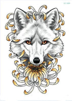Wolf In Trees Temporary Tattoo LC-589 - Go Steampunk