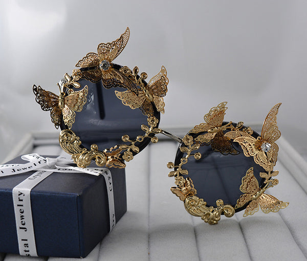 Vintage Retro Sunglasses Golden Frame Baroque gold Butterfly Flower Sunglasses BALCK - Go Steampunk