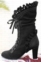 Steampunk Victorian Lace Up Suede Boots - Go Steampunk