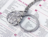 Flower Pattern Magnifying Glass Necklace