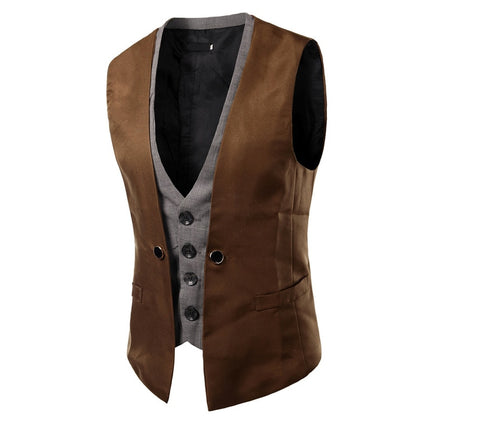 Slim Fit Two Pieces Look Masculino Vest - Go Steampunk