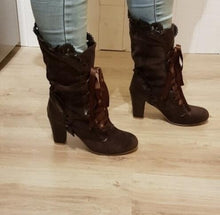 Load image into Gallery viewer, Steampunk Victorian Lace Up Suede Boots - Go Steampunk