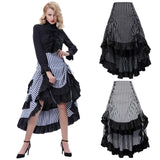 Long Striped Steampunk Ruffled Skirt