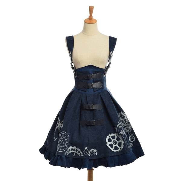 Elegant Steampunk Lolita Dress Blue / L - Go Steampunk