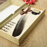 Black Vintage Quill Feather Dip Pen Writing Ink Set