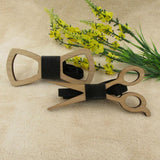 Unique Wooden Bow Tie Noeud Papillon Men Geometric Scissors Laser Cutout Jewelry Accessory