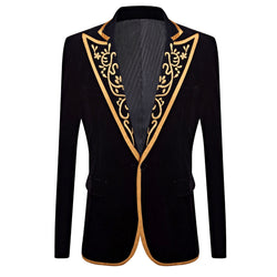 Mens Royal Court Black Velvet Gold Embroidery Blazer - Go Steampunk