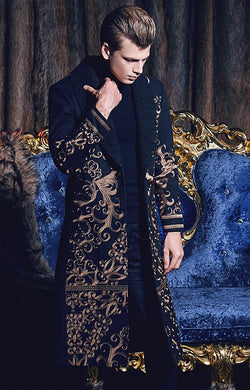 Embroidered Long Coat - Go Steampunk