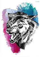 Wolf In Trees Temporary Tattoo LC-603 - Go Steampunk