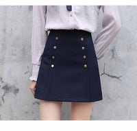 Double Row Buttoned Mini Skirt - Go Steampunk