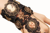 Black Lace Cameo Steampunk Finger Connect Bracelet - Go Steampunk