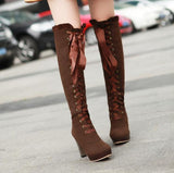 Fashion Lace Up Knee High Knight Boots